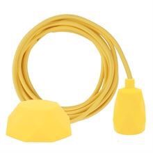 Dark yellow textile cable 3 m. w/yellow Facet lamp holder cover