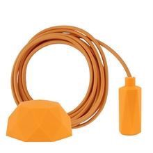 Pale orange textile cable 3 m. w/sunflower Hexa lamp holder cover E14