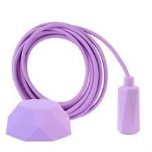 Lilac textile cable 3 m. w/lilac Hexa lamp holder cover E14
