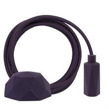 Dusty Deep purple textile cable 3 m. w/deep purple Hexa lamp holder cover E14