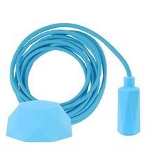 Clear blue textile cable 3 m. w/pale blue Hexa lamp holder cover E14