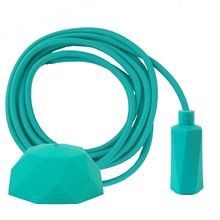 Turquoise textile cable 3 m. w/turquoise Hexa lamp holder cover E14