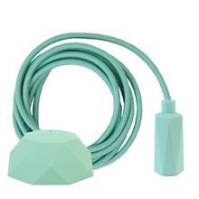 Dusty Pale turquoise textile cable 3 m. w/pale turquoise Hexa lamp holder cover E14
