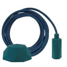 Petrol green textile cable 3 m. w/petrol Hexa lamp holder cover E14