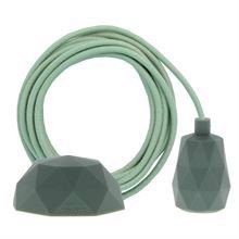 Dusty Apple green textile cable 3 m. w/olive green Facet lamp holder cover