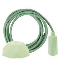 Dusty Apple green textile cable 3 m. w/pale green Hexa lamp holder cover E14