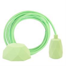 Spring green textile cable 3 m. w/pale green Facet lamp holder cover