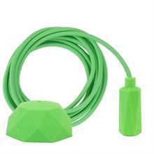 Lime green textile cable 3 m. w/lime green Hexa lamp holder cover E14