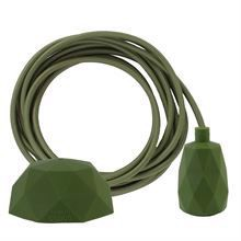 Army green textile cable 3 m. w/army green Facet lamp holder cover