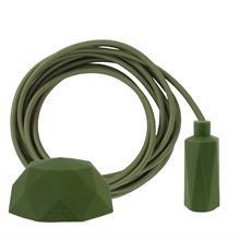 Army green textile cable 3 m. w/army green Hexa lamp holder cover E14