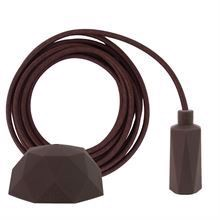Brown textile cable 3 m. w/brown Hexa lamp holder cover E14