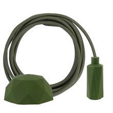 Dusty Army green textile cable 3 m. w/army green Hexa lamp holder cover E14
