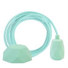 Mint textile cable 3 m. w/pale turquoise Facet lamp holder cover