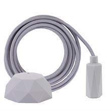Pale grey textile cable 3 m. w/pale grey Hexa lamp holder cover E14