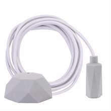 Dusty Offwhite textile cable 3 m. w/pale grey Hexa lamp holder cover E14