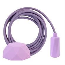 Dusty Lilac textile cable 3 m. w/lilac Hexa lamp holder cover E14