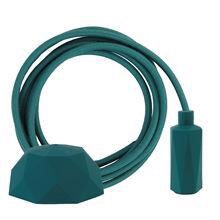 Dusty Petrol textile cable 3 m. w/petrol Hexa lamp holder cover E14