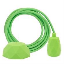 Dusty Lime green textile cable 3 m. w/lime green Facet lamp holder cover